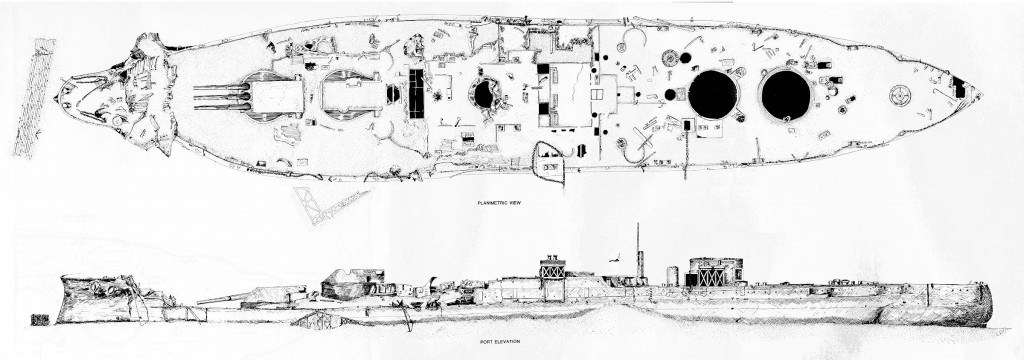 USS Arizona overhead and elevation sketch of damage